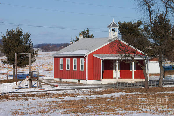 Landscape Poster featuring the photograph Lil Red School House by Robert Sander