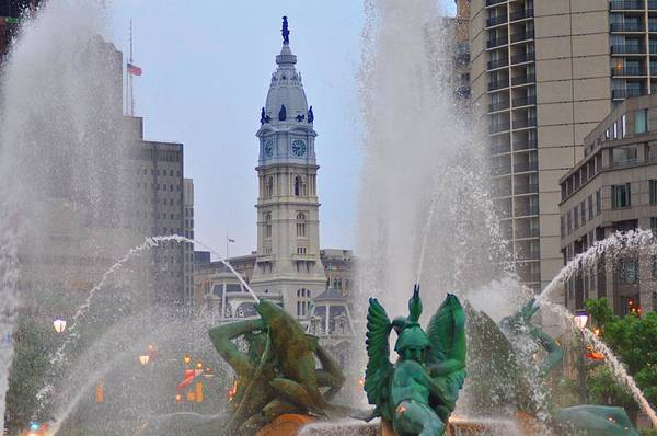 Fountain Poster featuring the photograph Logan Circle Fountain With City Hall In Backround 2 by Bill Cannon