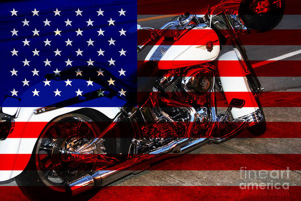 Wingsdomain Poster featuring the photograph Made In The Usa . Harley-davidson . 7d12757 by Wingsdomain Art and Photography