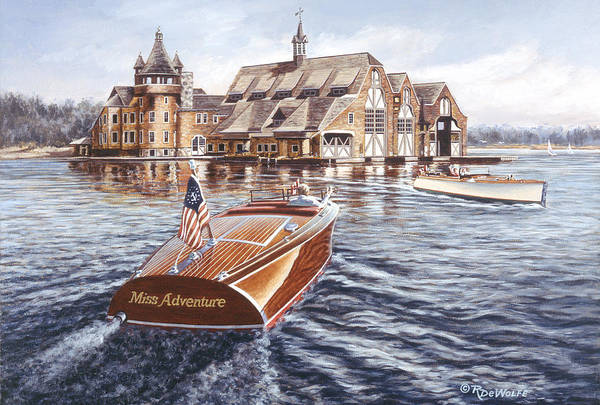 Chris Craft Poster featuring the painting Miss Adventure by Richard De Wolfe