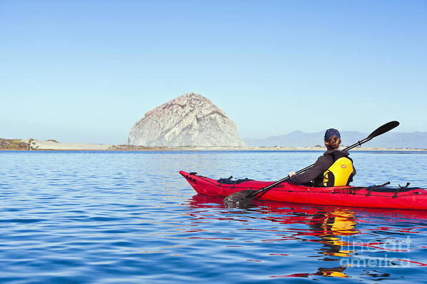 Active Poster featuring the photograph Morro Bay Kayaker by Bill Brennan - Printscapes
