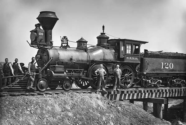 Locomotive Poster featuring the photograph No. 120 Early Railroad Locomotive by Daniel Hagerman