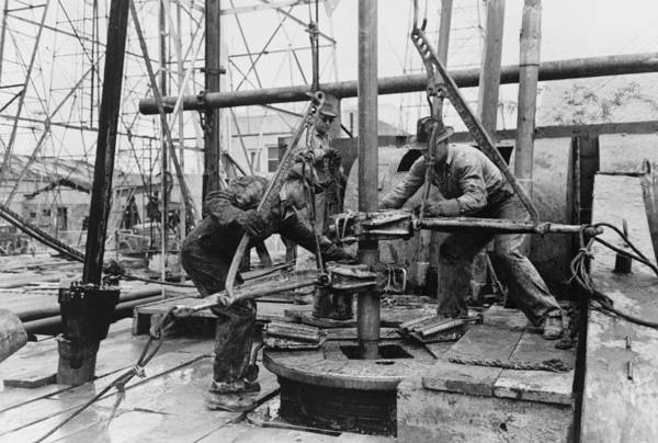 History Poster featuring the photograph Oil Rig Workers, Called Roughnecks by Everett