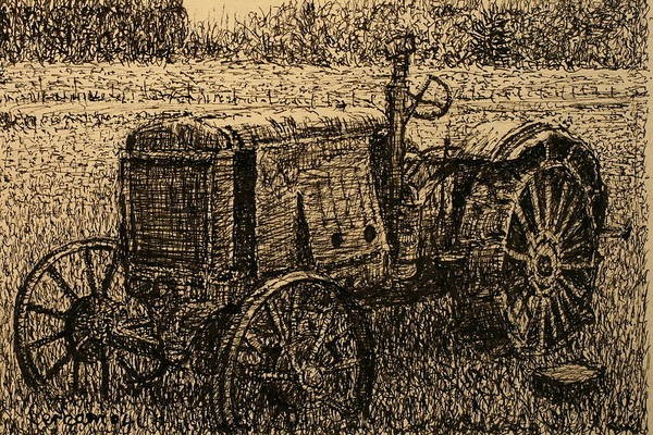 Tractor Poster featuring the drawing Old Timer by Terry Perham