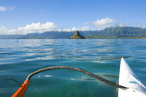 Alongside Poster featuring the photograph Outrigger On Ocean by Dana Edmunds - Printscapes
