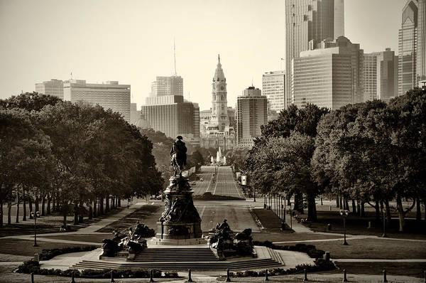 Philadelphia Poster featuring the photograph Philadelphia Benjamin Franklin Parkway In Sepia by Bill Cannon