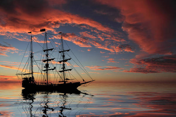 Pirate Ship Poster featuring the photograph Pirate Ship At Sunset by Shane Bechler