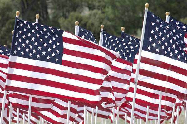 Flag Poster featuring the photograph Red White And Blue by Jerry McElroy