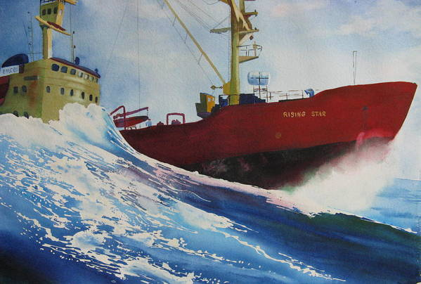 Ocean Poster featuring the painting Rising Star by Karen Stark