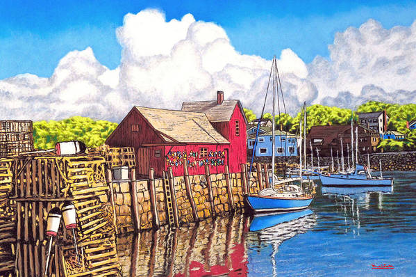 Rockport Poster featuring the painting Rockport Cove by David Linton