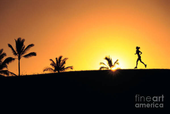 Athletic Sports Art Poster featuring the photograph Running At Sunset by Dana Edmunds - Printscapes