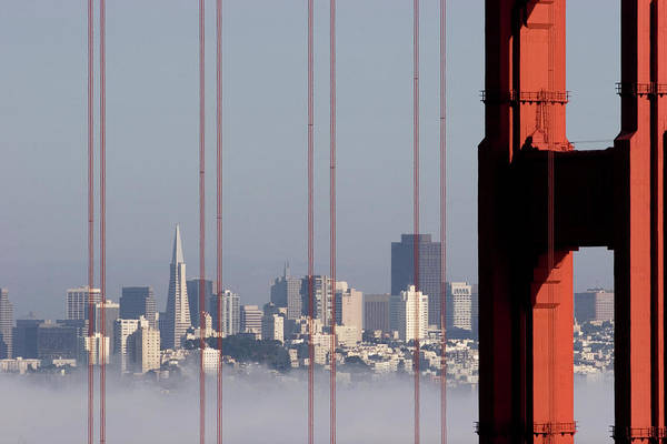 Horizontal Poster featuring the photograph San Francisco Skyline From Golden Gate Bridge by Mona T. Brooks