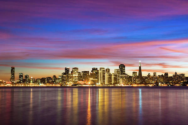 Horizontal Poster featuring the photograph San Francisco Sunset by Photo by Alex Zyuzikov