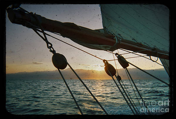 Sicily Sunset Sailboat Harbor Solway Maid Dustin Ryan Water Buildings Black And White Yacht Sail Poster featuring the photograph Sicily Sunset Sailing Solwaymaid by Dustin K Ryan
