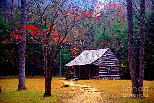 Log Cabin Poster featuring the photograph Smoky Mtn. Cabin by Paul W Faust - Impressions of Light