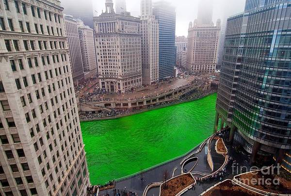 Chicago Poster featuring the photograph St Patrick's Day Chicago by Jeff Lewis