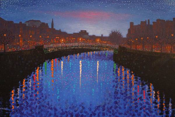 Dublin Poster featuring the painting Starry Nights In Dublin Ha' Penny Bridge by John Nolan