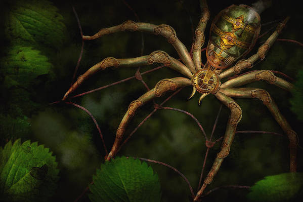 Steampunk Poster featuring the photograph Steampunk - Spider - Arachnia Automata by Mike Savad
