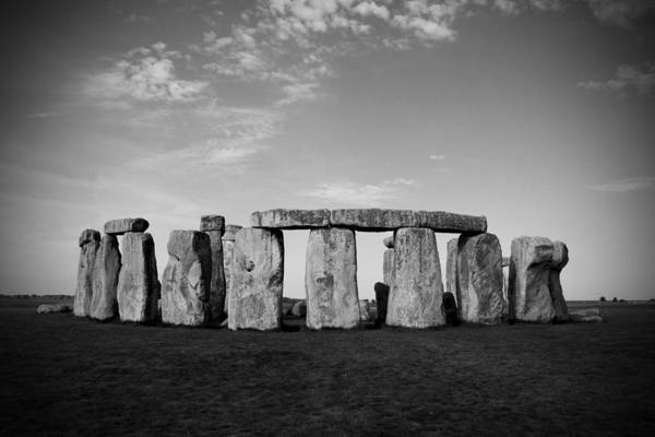 Stonehenge On A Clear Blue Day Poster featuring the photograph Stonehenge On A Clear Blue Day Bw by Kamil Swiatek