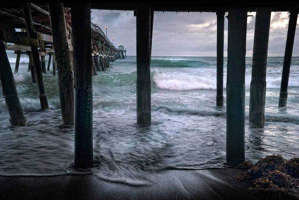 San Clemente Poster featuring the photograph Stormy Pier by Gary Zuercher