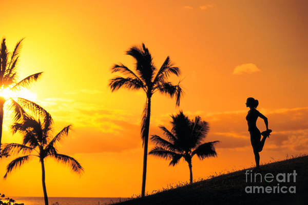 Athletic Sports Art Poster featuring the photograph Stretching At Sunset by Dana Edmunds - Printscapes