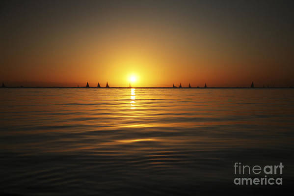 Amazing Poster featuring the photograph Sunset And Sailboats by Brandon Tabiolo - Printscapes