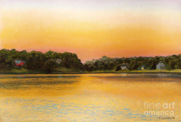 Pastel Poster featuring the pastel Sunset Lake by Joan Swanson