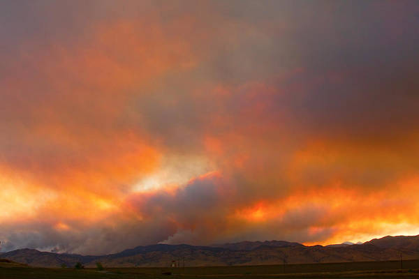fourmile Canyon Wildfire Poster featuring the photograph Sunset On Fire by James BO Insogna