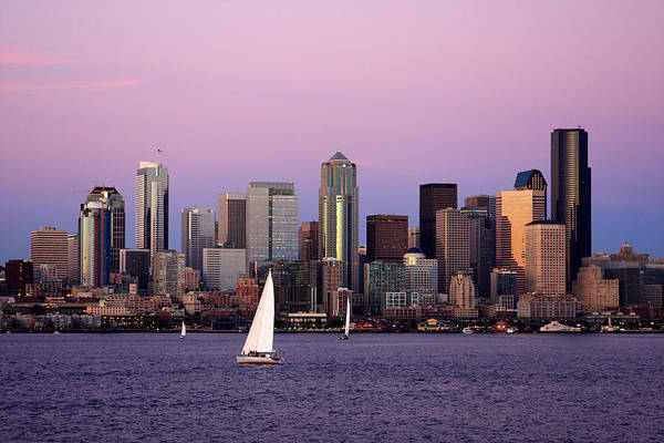 3scape Photos Poster featuring the photograph Sunset Sail In Puget Sound by Adam Romanowicz