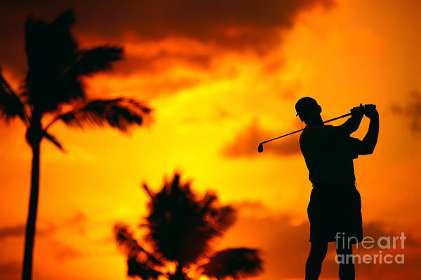 C1270 Poster featuring the photograph Sunset Silhouetted Golfer by Dana Edmunds - Printscapes