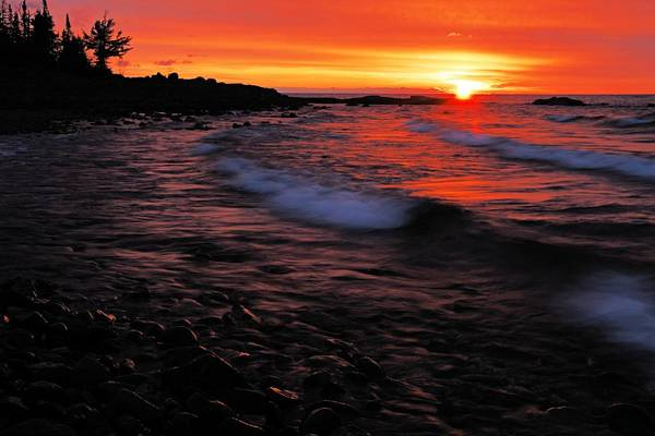 Split Rock Lighthouse State Park Poster featuring the photograph Superior Sunrise 2 by Larry Ricker