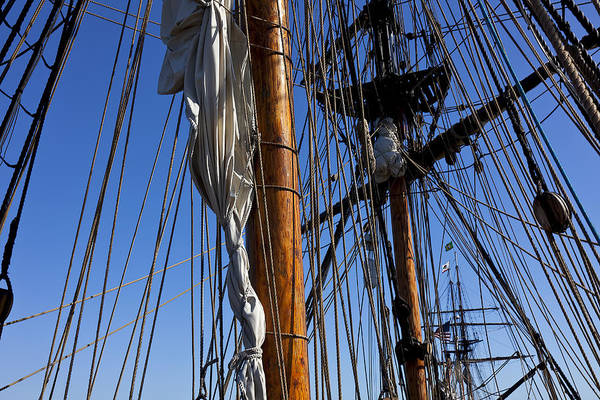 Blue Sky Poster featuring the photograph Tall Ship Rigging Lady Washington by Garry Gay