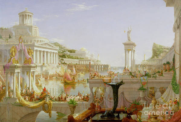 Civilisation; Ideal; Classical; Monument; Architecture; Column; Fountain; Hudson River School; The Course Of Empire: The Consummation Of The Empire Poster featuring the painting The Course Of Empire - The Consummation Of The Empire by Thomas Cole