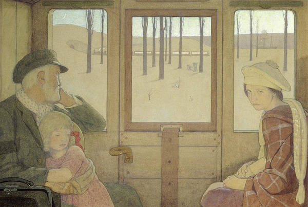 Symbolist; Grandfather; Children; Girl; Girls; Train; Carriage; Coach Poster featuring the painting The Long Journey by Frederick Cayley Robinson