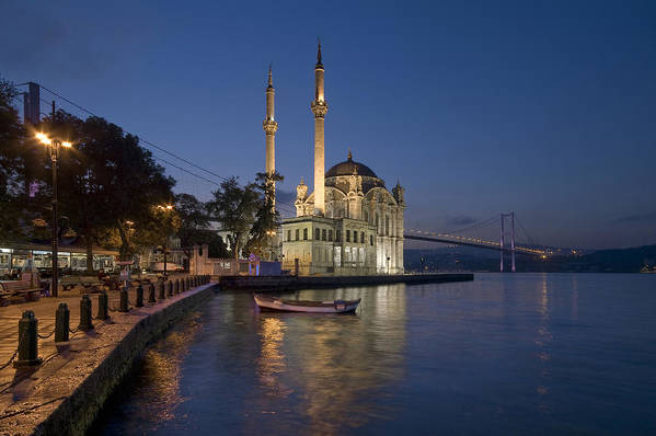 Turkey Poster featuring the photograph The Ortakoy Mosque And Bosphorus Bridge At Dusk by Ayhan Altun