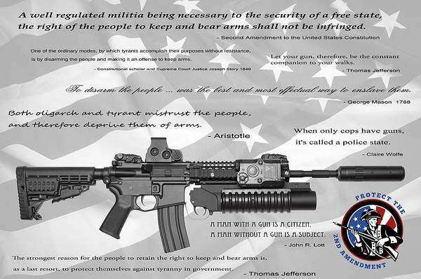 Guns Poster featuring the digital art The Right To Bear Arms by Daniel Hagerman