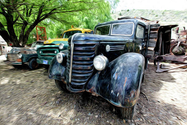 Old Antique Trucks. Fine Anyique Art. Digtal Art Photography. Digtal Wall Art. Fine Art Greeing Cards. Fine Art Note Cards. Old Fram Trucks. Fine Wall Art. Gallery Wall Art. Tractor. Trees. Farmyard. Hay. Bails. Roosters. Chicken. Feed. Water. Cows. Bulls. Cowboy.  Poster featuring the photograph The Three Amigos by James Steele