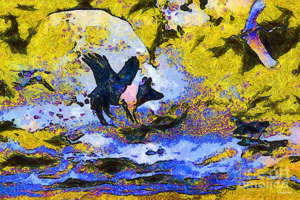 Animal Poster featuring the photograph Van Gogh.s Flying Pig 3 by Wingsdomain Art and Photography