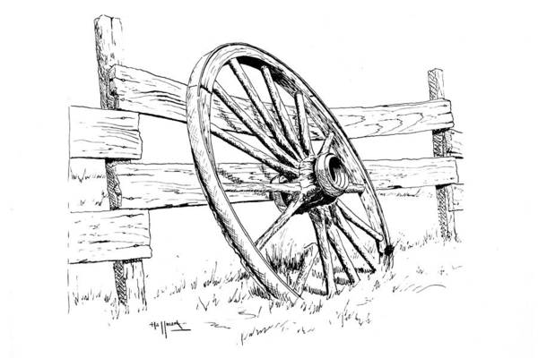 Wagon Wheel Poster featuring the painting Wagon Wheel by Bob Hallmark