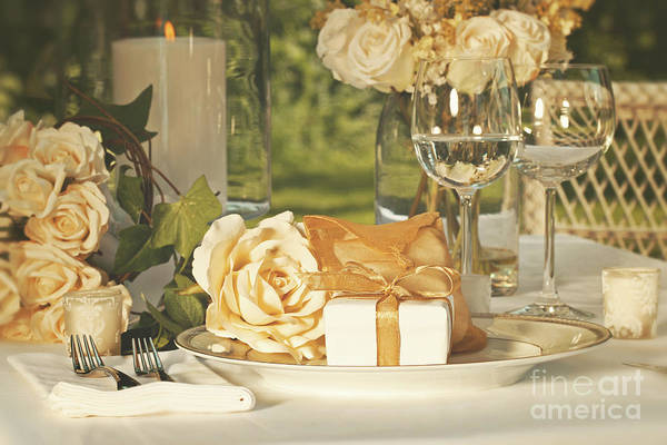 Arrangement Poster featuring the photograph Wedding Party Favors On Plate At Reception by Sandra Cunningham