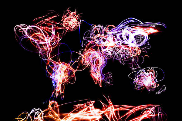 World Map Poster featuring the digital art World Map Light Writing by Michael Tompsett