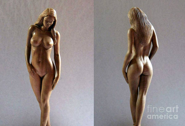 Naked Woman Wood Sculpture Poster featuring the sculpture Wood Sculpture Of Naked Woman by Carlos Baez Barrueto