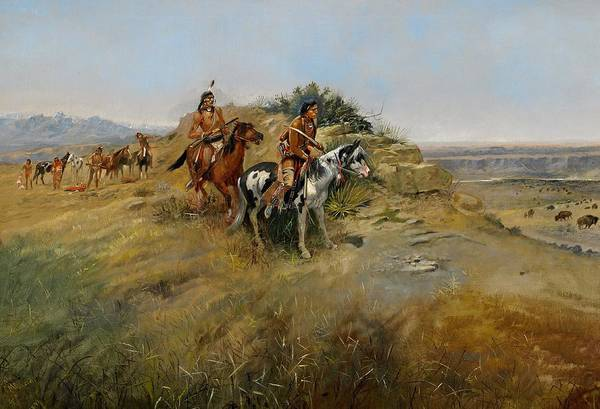 Charles Marion Russell Poster featuring the painting Buffalo Hunt by Charles Marion Russell