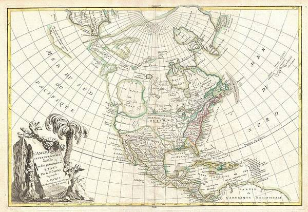 An Altogether Fascinating Map Of North America By Jean Janvier Dating To 1862. Covers The Continent From Panama To The Arctic Circle Poster featuring the photograph 1762 Janvier Map Of North America by Paul Fearn