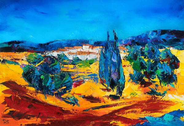 Landscape Poster featuring the painting A Sunny Day In Provence by Elise Palmigiani