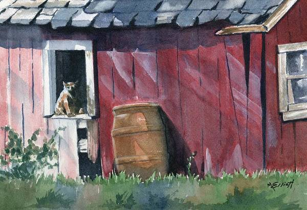 Cat Poster featuring the painting Catching Some Rays by Marsha Elliott