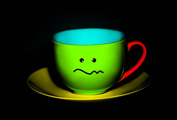 Tea Poster featuring the photograph Confused Colorful Cup And Saucer by Natalie Kinnear