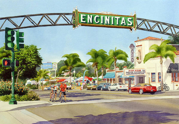 Encinitas Poster featuring the painting Encinitas California by Mary Helmreich