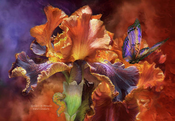 Iris Poster featuring the mixed media Goddess Of Miracles by Carol Cavalaris