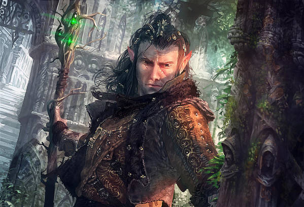 Magic The Gathering Poster featuring the digital art Greenside Watcher by Ryan Barger